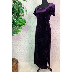 Vintage Dawn Joy Purple Floral Velvet Maxi Dress
